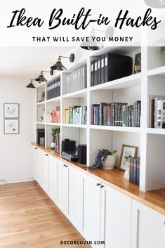 IKEA built-in hack for more living room storage These are the best IKEA built-in hacks that will save you money! Custom built-ins can cost a fortune, save money with these IKEA hacks. Home Office Design, Home Office Decor, House Design, Office Ideas, Office Cabinet Design, Office Setup, Office Table, Home Office Furniture, Home Office Cabinets