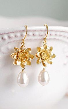 Gold Lotus Cream Pearl Earrings Yoga Lotus Jewelry