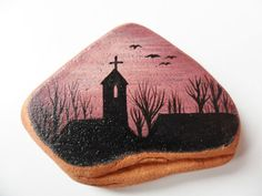 Sunset church  Miniature painting on English sea pottery by Alienstoatdesigns, $19.00