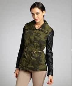 Olive Camouflage Faux Leather Sleeved Drawstring Studded Jacket