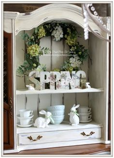 Hydrangea Wreath-French Farmhouse Easter Dining Room- From My Front Porch To Yours