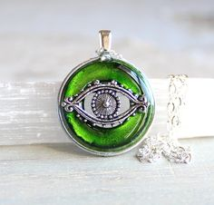 green evil eye necklace, evil eye jewelry, good luck charm, protection amulet, symbolic jewelry, unique gift, gift for her, talisman by NatureWithYou on Etsy