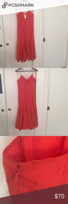 "Anthropologie Red/Orange Dress Size 8 Never Worn HD in Paris brand from Anthropologie. Dress is described as ""bright red,"" but it's def. red/orange IMO. Brand New. Never been worn. Tags still attached. Regular size 8 (fits more like a 4 or 6 IMO). Top part is too tight for DD or DDD IMO. I'm 5ft and the dress hits me a little higher than my ankles. Anthropologie Dresses"