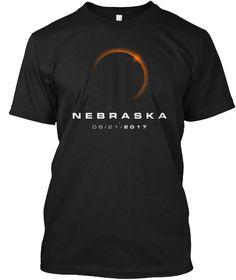 Nebraska Total Solar Eclipse T Shirt. Black T-Shirt Front