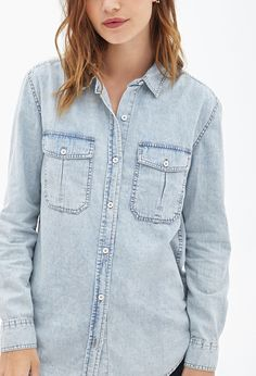 $22, Light Blue Denim Shirt: Forever 21 Faded Denim Shirt. Sold by Forever 21. Click for more info: https://lookastic.com/women/shop_items/65949/redirect
