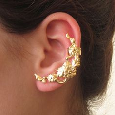 Gold Plated Flowers Ear Cuff climber Earrings - LEFT ear only * Wow! I love this. Check it out now! : Handmade Gifts