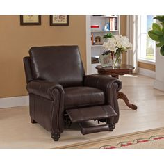 Shop for Fulton Brown Premium Top Grain Leather Recliner Chair. Get free delivery On EVERYTHING* Overstock - Your Online Furniture Shop! Get in rewards with Club O! Furniture Mall Of Kansas, Furniture Stores Nyc, Online Furniture, Brown Leather Recliner Chair, Leather Reclining Sofa, Black Dining Room Chairs, Living Room Chairs, Iron Furniture, Home Furniture