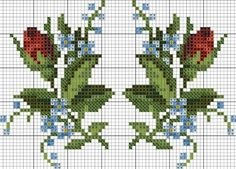 Rose bud and forget me nots chart Cross Stitching, Cross Stitch Embroidery, Embroidery Patterns, Hand Embroidery, Cross Stitch Heart, Cross Stitch Flowers, Cross Stitch Designs, Cross Stitch Patterns, Needlework