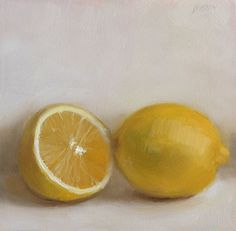 """""""One and a Half Lemons 5x5 in."""" - Original Fine Art for Sale - © Justin Clayton"""