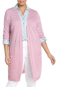 """I love my new linen/rayon blend sweater from Halogen in lovely pastel """"purple fragrant."""""""