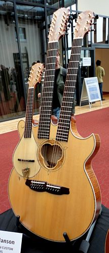 Andy Manson is a well known British luthier and after seeing this three neck creation I can see why he commmands respect. Six string, 12-string and mandolin in one. Need a big gig-bag for this one