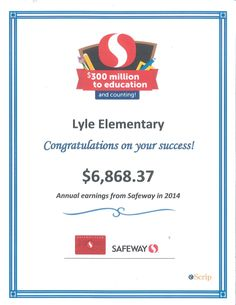 Are you signed up for Safeway eScrip but really don't know why? Let us assure you that Safeway eScrip makes a great, big difference for schools like Lyle! If you aren't registered, but want to support your school, register your card http://www.escrip.com/safewaystores/safeway/index.jsp