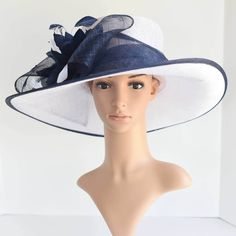 "Newest Kentucky Derby, Church, Wedding, Tea Party 3 Layers 5.5~6.25"" Wide Brim with 100% feather Flower & Big Bow Sinamay Hat ( White/Navy ) by EZfashionhats on Etsy https://www.etsy.com/listing/517845407/newest-kentucky-derby-church-wedding-tea"