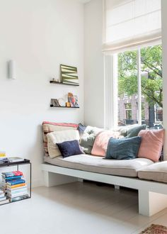 a cozy hallway nook in this fresh amsterdam home | house tour on coco kelley
