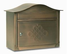 Architectural Mailboxes Peninsula Wall Mailbox, Antique Copper Embossed by Architectural Mailboxes. $151.30. 16.5-Inch w x 13.5-Inch h x 6.5-Inch d, 16-Pound. Large 1-1/2-Inch  by 13-Inch  incoming mail slot easily accepts mail bundles, catalogs, videotapes and bank checks. Over 14 lbs of solid 8 and 20 gauge brass finished in Antique Copper. Designed to be mounted on a wall under an awning. Locking access door with stainless steel cam lock with 2 keys keeps mail saf...
