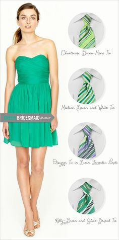 Bows N Ties finds the perfect ties to go with your maids dresses. This pic: great ties for kelly green.