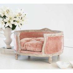 Pink Velvet dog bed - Velvet French Bedroom Furniture