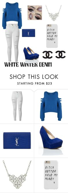 """""""White Winter Denim"""" by sydneyharrell ❤ liked on Polyvore featuring Frame Denim, WearAll, Yves Saint Laurent and 1928"""