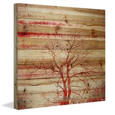 Parvez Taj - Red Branches Painting Print on Natural Pine Wood