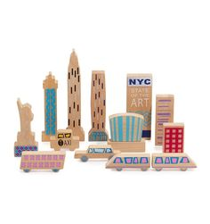 Wanderlust Play Sets. This is NYC. Includes Logo Wooden Storage Box with Chalk Board Painted Interior