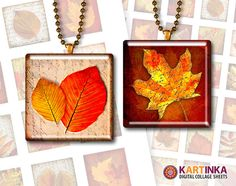 AUTUMN LEAVES  1x1 inch   Digital Collage Sheet  by KARTINKAshop, $3.50