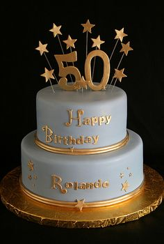 50th Anniversary Cakes | 50th Birthday Cake Gold and Blue | by Creative and Tasty Treats (Sandy ...