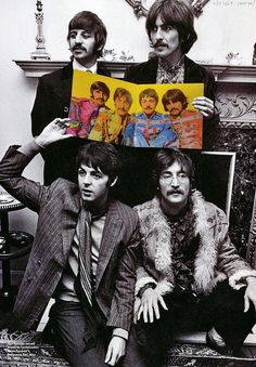 Richard Starkey, George Harrison, Paul McCartney, and John Lennon (Sgt Pepper in living color)
