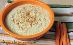 Homemade hummus using dried garbanzo beans. Soak, food process, devour. Repeat as needed.