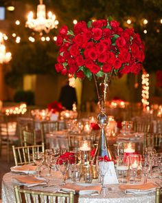 What's more romantic than hundreds of red roses?? Gorgeous reception design by @flowersbycina. (As featured on @strictlyweddings - - Floral: @flowersbycina | Planner: @fivestarweddings | Venue: @serraplaza | Photo: KJ Photo | Makeup: @flawlessfacesinc | Wedding Gown: @casablancabridal | Cake: @awishandawhisk | Rentals: Monico Décor | Linen: @latavolalinen)