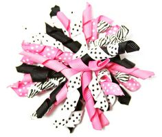 This Dazzling Zebra Korker Hair Clip features two of our favorite things in a hair accessory, Zebra and Pink. This Korker is also available on a variety of headbands.