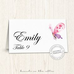 items similar to printable escort cards wedding place cards template editable guest tags wedding seating cards pink butterfly digital download pdf on