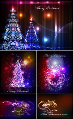 Set of vector ornate Christmas tree backgrounds with neon style Christmas ornaments for your greeting cards, banners, brochures and posters. Christmas Tree Background, Christmas Tree Cards, Free Vector Graphics, Vector Art, Neon Glow, Vector Background, Abstract Backgrounds, Cardmaking, Clip Art