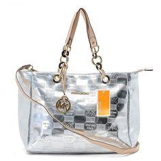 a55aa2c8527f87 michael kors mirror metallic chain large grey tote Michael Kors Sale,  Handbags Michael Kors,