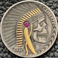 Hobo nickel 1937 buffalo nickel 24k gold & man made ruby engraved by G. Palsis
