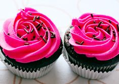 Chocolate Chip Cupcakes with Hot Pink Vanilla Cream Frosting