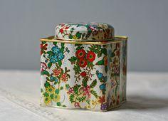 vintage floral decorative tin can by ModishVintage on Etsy, $12.00