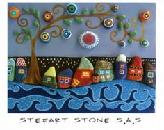Colorful Wall art Rustic Wall art pebble art by StefArtStone Stone Crafts, Rock Crafts, Arts And Crafts, Colorful Wall Art, 3d Wall Art, Pebble Painting, Stone Painting, Painted Rocks, Hand Painted