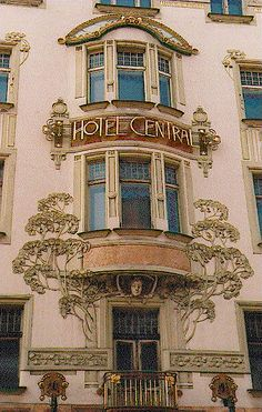 """Hotel Central"" is one of the first Art Nouveau buildings in Prague, 1899-1902 ~ by Bedřich Ohmann (1858-1927) and his students Bedřich Bendelmayer and Alois Dryák"