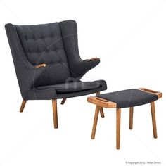 Papa Bear Chair & Ottoman – Hans Wegner Reproduction – Grey Cashmere - Milan Direct - Sale £377