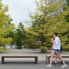 WOODROW bench as a wonderful addition to urban woods. Street Furniture, Woods, Urban, Park, Benches, Forests, Parks, Woodland Forest