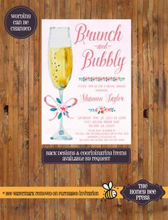 Brunch and Bubbly Bridal Shower invitation - Champagne Invitation - Watercolor champagne glass - Bridesmaid Luncheon Invite - Item 0330  by The Honey Bee Press