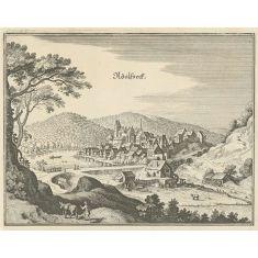 Kupferstich Merian, Stich, Alsfeld, Hessen, Fototapete Merian