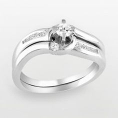 Round-Cut Diamond Swirl Engagement Ring Set in Sterling Silver (1/4 ct. T.W.)