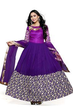 Purple Color Georgette Fabric Anarkali