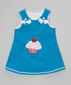 Look at this HH & Me Blue Cupcake Corduroy Jumper - Toddler & Girls on #zulily today!