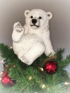 Playing Polar Bear Sitting Unique Christmas Tree Topper by SummitArbor on Etsy Unique Christmas Trees, All Things Christmas, Christmas Home, Christmas Crafts, Christmas Ornaments, Arctic Tundra Animals, Christmas Tree Toppers, Christmas Decorations, Polar Bear Christmas