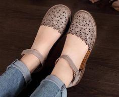 3 colores Mujer hecho a mano de cuero sandalias zapatos de