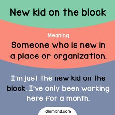 Idiom of the day: New kid on the block.  Meaning: Someone who is new in a place or organization.  Example: I'm just the new kid on the block. I've only been working here for a month.