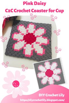 C2c Crochet Blanket, Plaid Crochet, Crochet Coaster Pattern, Tapestry Crochet, Diy Crochet, Crochet Crafts, Yarn Crafts, Crochet Hooks, Crochet Patterns