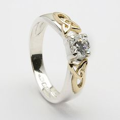 Trinity Shoulder CZ Ring (C-425) - Celtic Rings